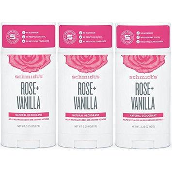 Natural Deodorant, No Aluminum. No Artificial Fragrance, Certified Vegan and Cruelty Free (Rose- Vanilla, 3 Pack)