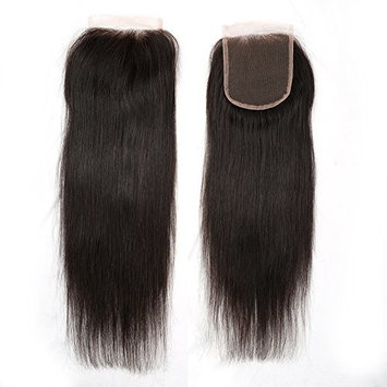 Sent Hair Lace Closure 3 Part Straight Brazilian Virgin Human Hair Closure 4x4 Natural Black Hair Color 10 inch []