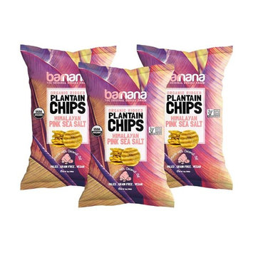 Barnana Organic Plantain Chips - Himalayan Pink Salt- 5 Ounce, 3 Pack Plantains Salty, Crunchy, Thick Sliced Snack - Best Chip For Your Everyday Life - Cooked in Premium Coconut Oil [Pink Salted]