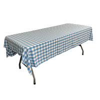 LA Linen TCcheck60x90-TurquoiseK40 Polyester Gingham Checkered Rectangular Tablecloth White & Turquoise - 60 x 90 in.