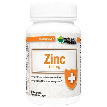 Nature's Wonder Zinc 50mg Tablets, 120 Count