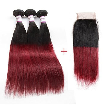 Racily Hair Ombre Brazilian Hair Straight 3 Bundles with Lace Closure 1B Burgundy 4