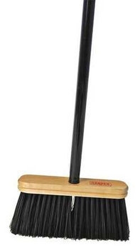 HARPER 109A42 Upright Broom, Stiff,9 in, Steel Hndl, Blk