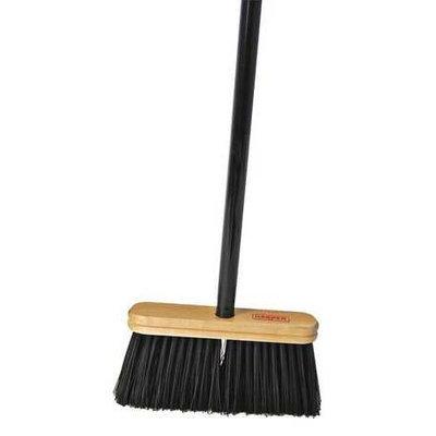 HARPER 109A42 Upright Broom, Stiff,9 in, Steel Hndl, Blk