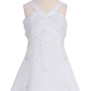 Rain Kids Girls 8 White Sequin Floral Special Occasion Dress