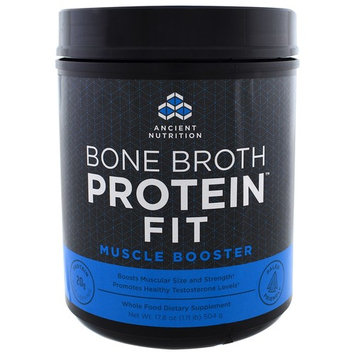 Dr. Axe / Ancient Nutrition, Bone Broth Protein Fit, Muscle Booster, 17.8 oz (504 g)