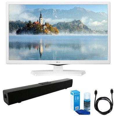 LG 24-Inch HD LED TV - White (2017 Model) w/ Sound Bar Bundle