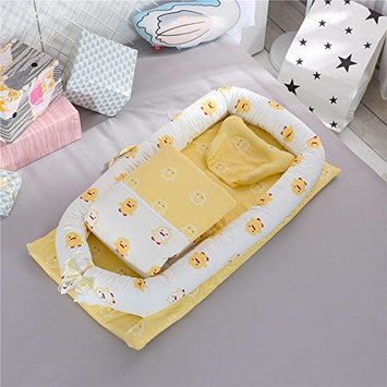 CYBIL HOME Baby Bassinet for Bed Baby Lounger Nest Baby Co-Sleeping Cribs - Breathable & Hypoallergenic -100% Cotton Portable Crib for Newborn 0-24 Months Portable Travel Infant Bed Sleeper (Yellow Du