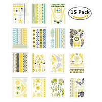 200+ Metallic Temporary Tattoos, Magnolora 15 Sheet Temporary Fake Tattoo Stickers Various Designs Removable Waterproof Body Art Tattoos Sticker for Body and Cellphones