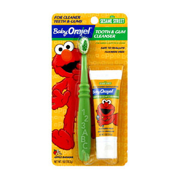 Baby Orajel Tooth And Gum Cleanser With Toothbrush, Apple Banana, 1 Oz