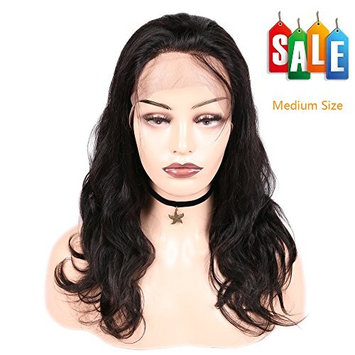 FAVE 360 Lace Front Wig Body Wave Brazilian Virgin Human Hair Wigs with Baby Hair for Women Natural Black Color 16 Inch