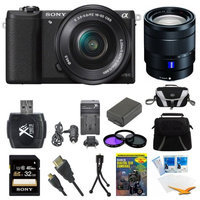 Sony a5100 Mirrorless Camera w/ 16-50mm and 16-70mm Lens Black Bundle