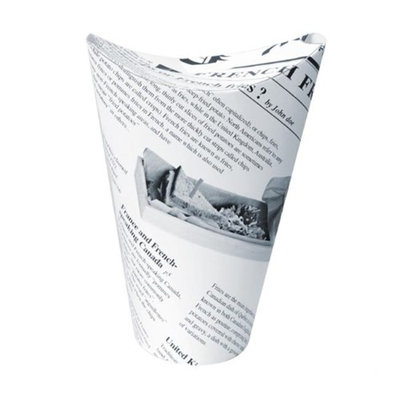 Packnwood 210TPASK12 8 oz Happy Fries Newsprint Closable Perforated Snack Cup 2.36 x 4.7 in.