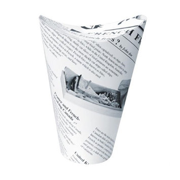 Packnwood 210TPASK20 14 oz Happy Fries Newsprint Closable Perforated Snack Cup 2.36 x 6.3 in.