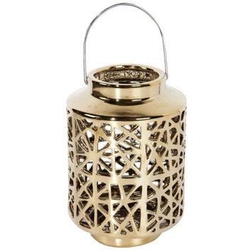 Benzara Gold Finish Lantern with Handle In shiny Finish