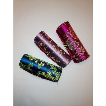 Random Colors Lipstick Case 3pcs Set Satin Silky Fabric Lipstick Case w/Mirror Assorted Floral Prints 3.5