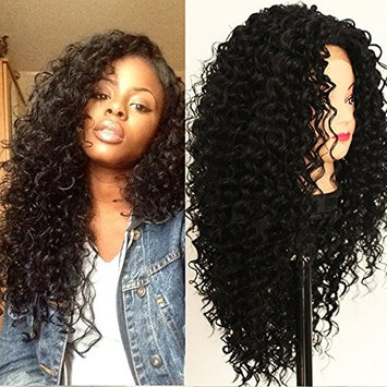 PlatinumHair 180Density #1B Loose Curl Wigs Synthetic Lace Front Wig 10% Human Hair 90% Heat Resistant Fibre Wigs With Baby Hair 26Inch
