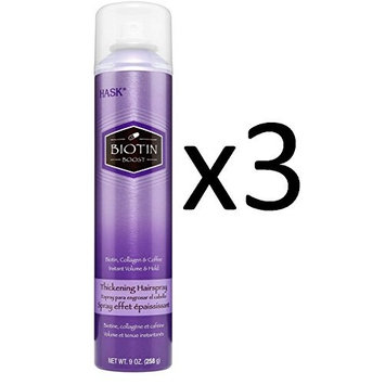 ARRIVAL PACK OF 3] HASK BIOTIN BOOST Collagen THICKENING HAIRSPRAY 9oz : Beauty