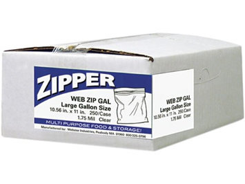 Webster ZIPGAL 1 Gallon Storage Bags Reclosable 10-1/2inx11in 250/BX Clear