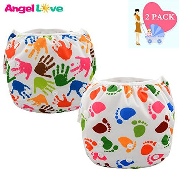 Swim Diapers, Pack of 3 Angel Love Baby Reusable Washable And Adjustable One Size Cloth Swimming Diaper for Eco-Friendly Baby Shower Gifts & Swimming Lessons