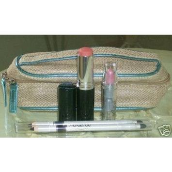 Avon Cosmetic Makeup Bag Case Beige Trim Zippered Bag Pencils Brushes