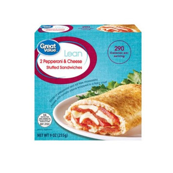 Great Value Lean Stuffed Sandwiches, Pepperoni & Cheese, 2 Count