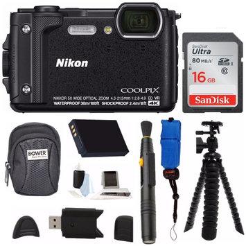 Nikon Coolpix W300 Digital Camera (Black) with 16GB SD Card & Accessory Bundle