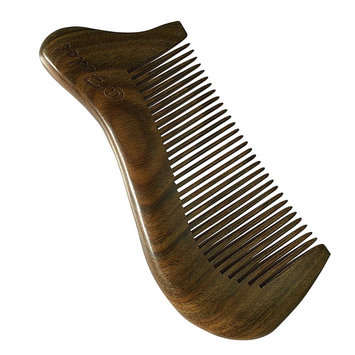 Fedol Aromatic Green Sandalwood Comb for Curly / Wavy Hair. Beard Comb. Anti Static Wooden Comb. Pocket Size: 4 3/4 x 2 Inches.
