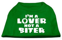 Ahi I'm a Lover not a Biter Screen Printed Dog Shirt Emerald Green XS (8)