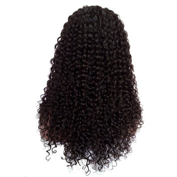 Royalfirst Glueless Lace Front Human Hair Wigs Brazilian Virgin Remy Hair Wigs for Women Kinky Curly 20inch Long 1# Color 150% Density with Baby Hair