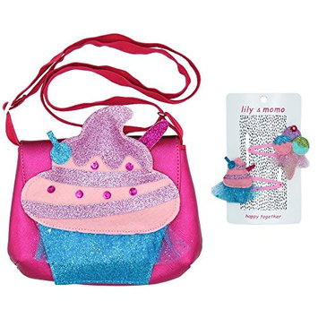 Sugar Rush Bag and Hair Clip Gift Set - Party Cupcake and Ice Cream Sundae – Glitter Aqua and Pink, Pastel Pinks, Purple and Mint – Bag with Adjustable Strap and Magnetic Closure, Non Slip Snap Clips