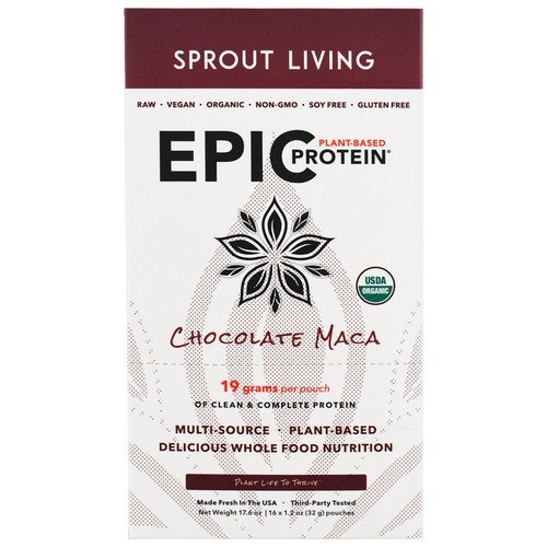 Sprout Living, Epic Plant-Based Protein, Chocolate Maca, 12 Pouches, 1.2 oz (32 g) Each