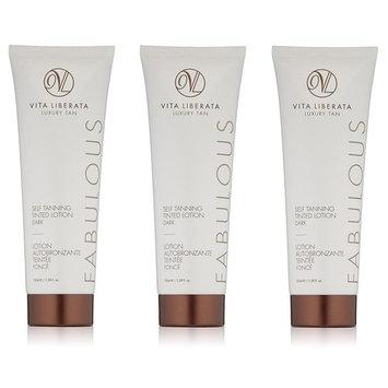 Vita Liberata Luxury Tan, Fabulous, Self Tanning Tinted Lotion, Dark, 3.38 Oz (Pack of 3) + LA Cross Manicure 74858