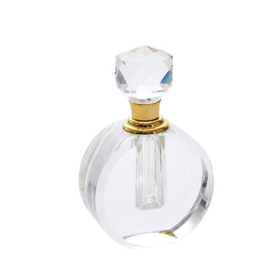 Benzara Well-Designed Clear Crystal Perfume Bottle