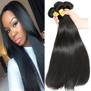 JQM 7A Brazilian Virgin Straight Hair Bundles Unprocessed Remy Human Hair Extensions 3 Bundles Deals 1B# Natural Black Hair Weave