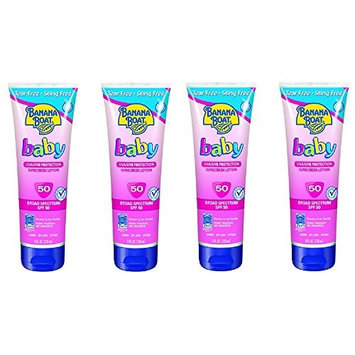 Banana Boat Baby Sunscreen Lotion SPF 50, 10 Ounce (4 Pack) + FREE Assorted Purse Kit/Cosmetic Bag Bonus Gift