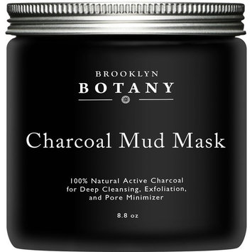 Activated Charcoal Mud Mask + FREE Facial Brush - Facial Mask For Deep Cleansing Exfoliation - Best for Shrinking Pores, Fight Acne, Black Head Remover & Blackhead Mask - 8.8 fl oz - Brooklyn Botany