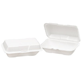 Genpak 21900 Foam Hoagie Hinged Container, Large, White, 9-1/2x5-1/4x3-1/2, Bag of 100 (Case of 2 Bags)