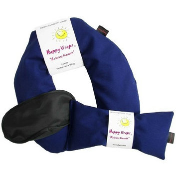 Happy Wraps Microwavable Unscented Flax Seed Neck Wrap & Free Sleep Eye Mask - Hot Cold Heating Pad For Shoulder & Neck Pain Relief Pillow - Stress & Migraine Relief - Heat or Freeze (Navy Cotton)