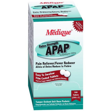 Medique APAP Acetaminophen Extra Strength 500mg Pain Relief 3 Boxes ( 1500 caplets ) MS-71235