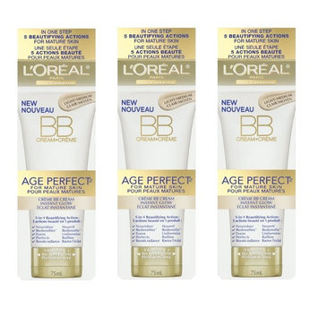 LOreal Paris Age Perfect BB Cream Instant Radiance, 2.5 Ounce - 3 Pack + Makeup Blender