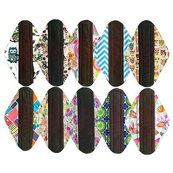 10PCS 14 Inch Overnight Charcoal Bamboo Cloth Reusable Washable Menstrual Pads Sanitary Pads