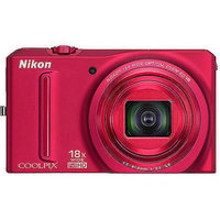 Nikon COOLPIX S9100 12MP Red Digital Camera w/ 18x Optical Zoom