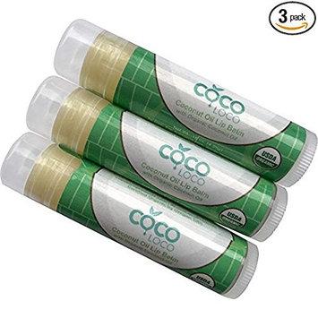 COCO LOCO - Coconut Oil Lip Balm - Certified Organic Hydrating Coconut Oil, Vitamin E and Calendula Sheer Lip Balm - 3 pack
