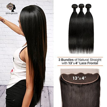 DIVA QUEEN 7A Brazilian 100% Virgin Human Hair 3 Bundles With 13x4 Lace Frontal Closure Natural Straight (Natural) (12