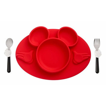 The First Years Disney Mickey Mouse Silicone Placemat with Stainless Steel Fork & Spoon 3 Piece Set