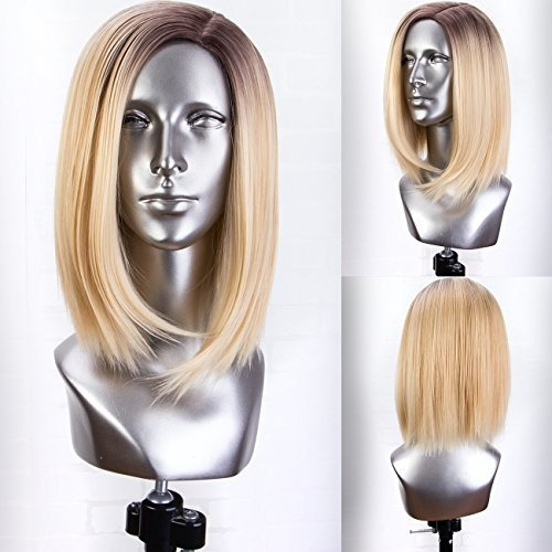 Persephone Fashion Blonde Ombre Bob Wig with Brown Roots Left Side Part Full Machine Made Synthetic Blonde Wigs Bob for Women