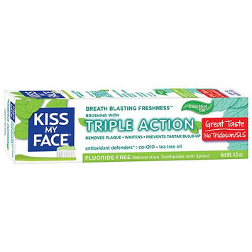 Kiss My Face Triple Action Fluoride-Free Natural Aloe Toothpaste Gel with Xylitol Cool Mint 4.5 oz.(pack of 2)