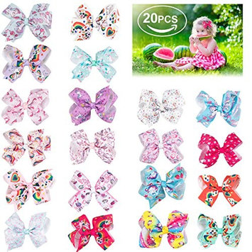 AWSTECH 4.5 inches Hair Bows For Girls Large Big Grosgrain Ribbon Boutique Rainbows Hair Bow Clips For Kids Toddlers Teens Children Gifts Set Of 20