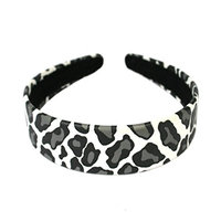 Mia Faux Leather Leopard Printed, Fashionable, U-Shaped Headband-Measures 1.25 Inches Wide-Beautiful Smooth White Base With Cool, Chic Gray Animal Spots Outlined In Black Color-One Size Fits All (1pc)